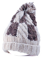 Flanging Check Pattern Ball Top Beanie - Off-white