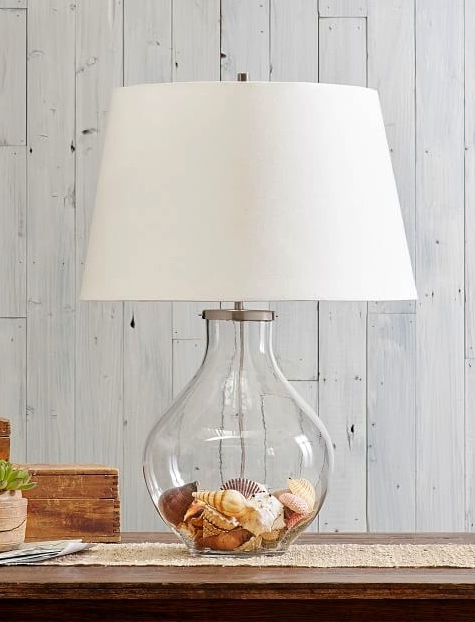 Glass Table Beach Shell Lamp