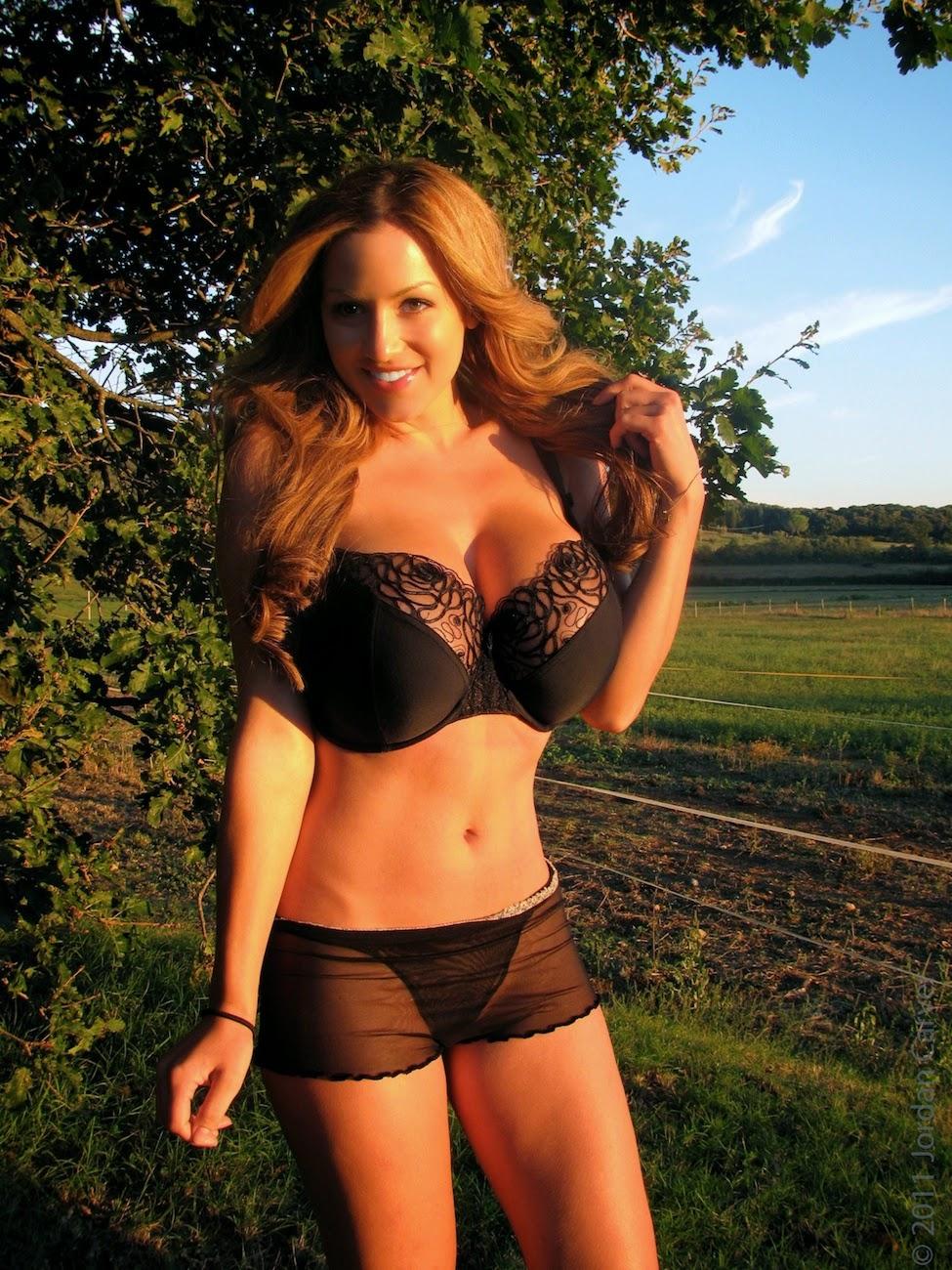 Jordan Carver Big Boobs In Black See Through Bra And Panty -1149