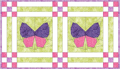 tablerunner from butterfly quilt block pattern