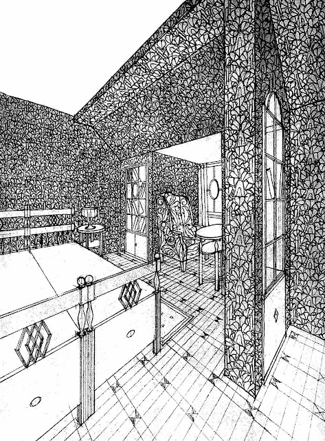 a Josef Hoffman forced perspective drawing of a bedroom design