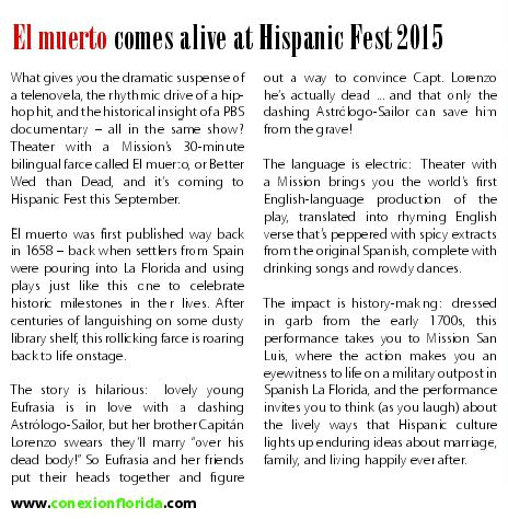 El Muerto TWAM article in Conexion  for HispanicFest2015