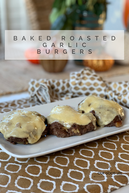 Baked Roasted Garlic Burgers
