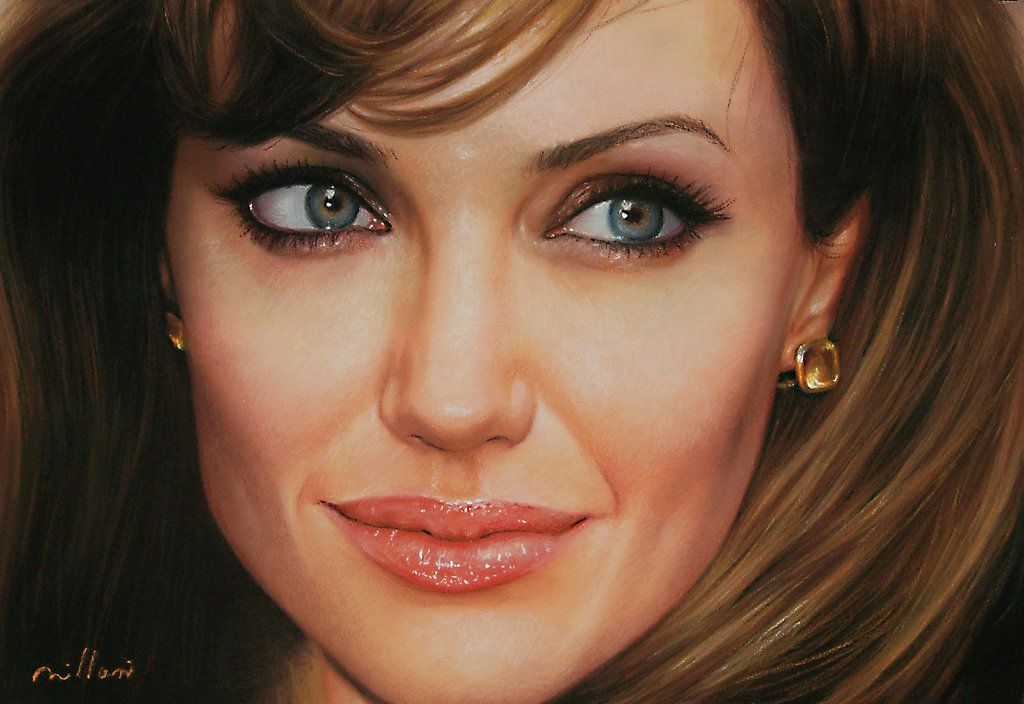 Oil Painting of Angelina Jolie