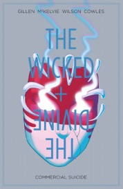 Cover of The Wicked + The Divine Volume 3: Commercial Suicide, featuring a mouthless, half white, half red mask against a grey background. Glowing smoke drifts from the masks' eyes. The series title is overlaid atop the image, with the volume title along the bottom.