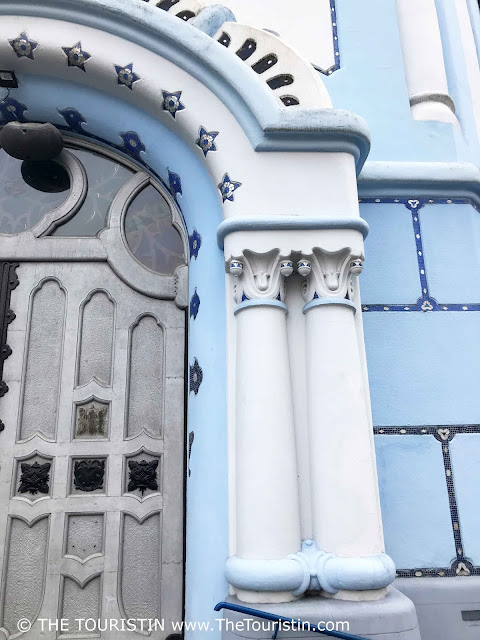 Entrance door of blue church St. Elizabeth in Bratislava in Slovakia