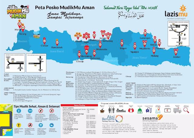 Peta Posko MUDIKMU AMAN Lazismu se-Pulau Jawa