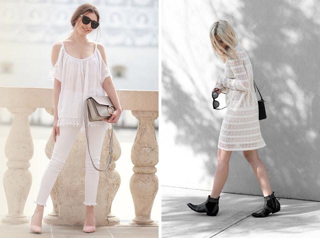 Девушки в прозрачной белой блузке и прозрачном белом платье