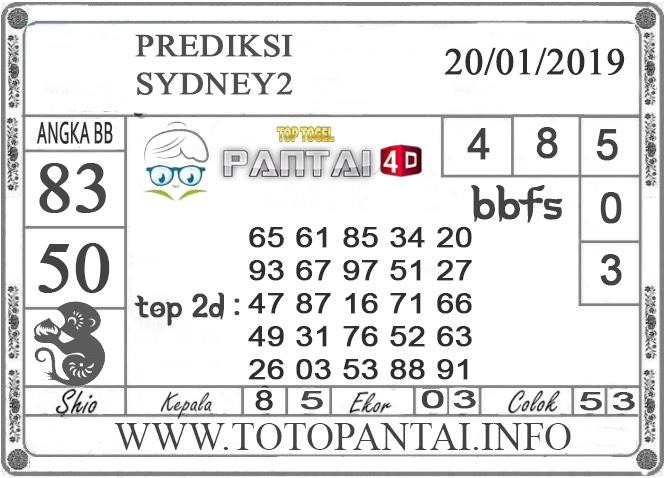 """Prediksi Togel """"SYDNEY 2"""" PANTAI4D 20 JANUARI 2019"""