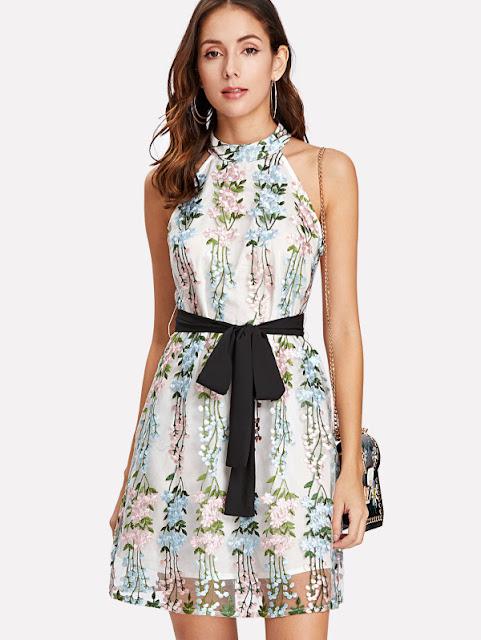 0042bb414b Applique Mesh Overlay Halter Dress