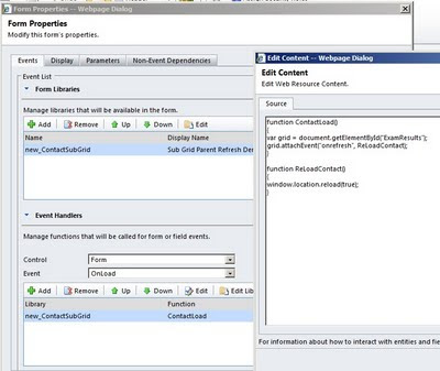 CRM 2011 - How to refresh a form after subgrid changes Joe Gill Dynamics 365 Consultant