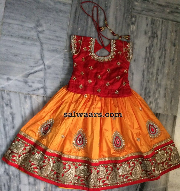 Mustard Yellow Red Kids Lehenga