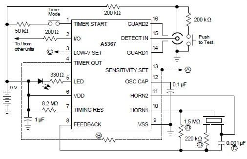 Ionization Smoke Detector Using A5367 | Diagram for Reference