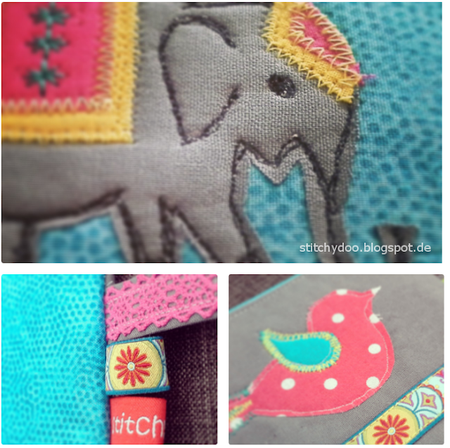 Applikationen, Elefant und Vogel für Kramtasche | elephant and bird applique, zipper pouche