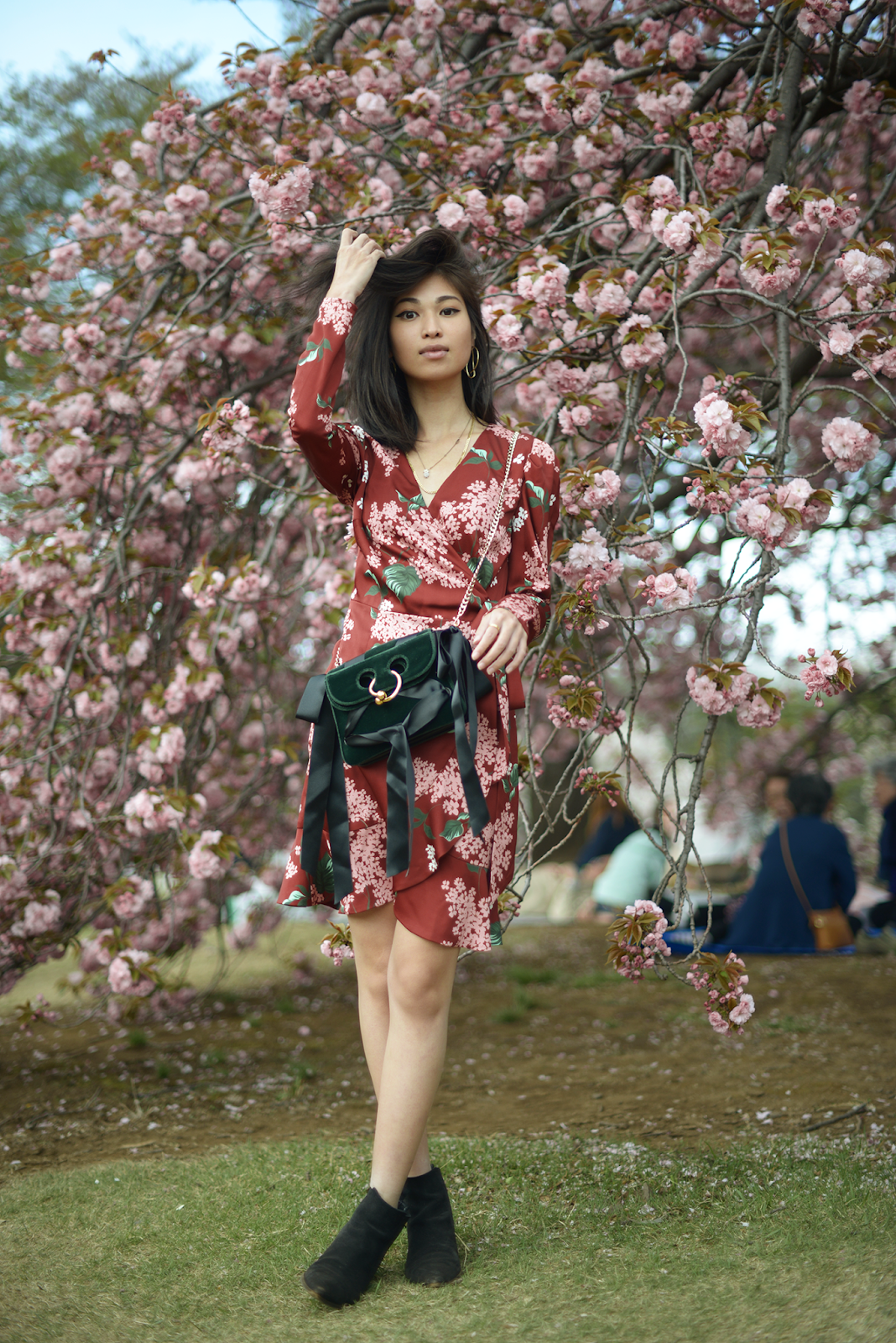 KEEPSAKE THIS MOMENT LONG SLEEVE WRAP DRESS, Cherry Blossoms Bloomed in Tokyo, Cherry Blossoms Portraits, Cherry Blossoms Tokyo, Tokyo Spring Style, Red Floral Wrapped Dress, Long Sleeve Wrapped Dress, JW Anderson Pierce Bag / FOREVERVANNY.com