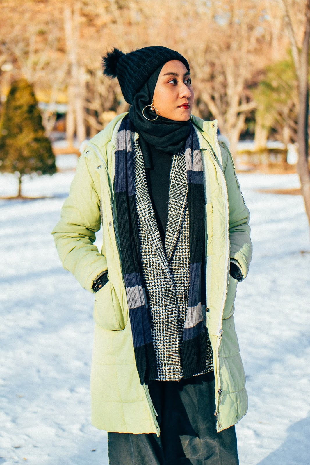 Layering Puffer Jacket and Houndstooth Plaid Coat