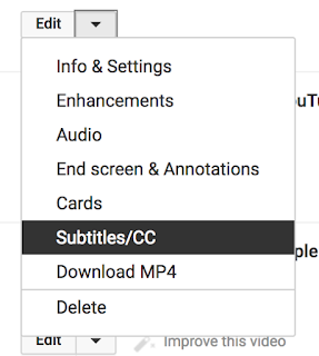 Edit with drop down menu with Subtitles/CC highlighted