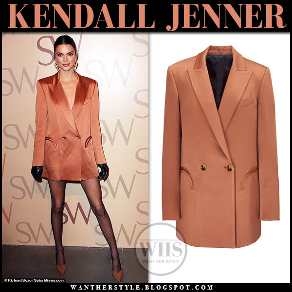 Kendall Jenner wears satin rust blazer mini dress and brown pumps fashion week party designer outfit february 2019