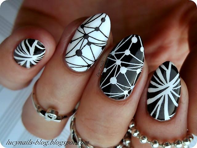 biało-czarne-paznokcie