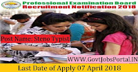 Professional Examination Board Recruitment 2018  Government Job for Steno Typist
