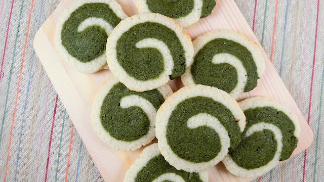 抹茶の渦巻きアイスボックスクッキー