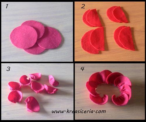 Cara Membuat Bunga Mawar Dengan Kain Flanel