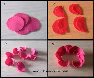Tutorial membuat sekuntum mawar merah dari kain flanel part 1