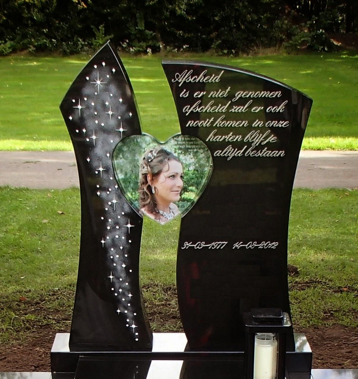 Grafsteen Swarovski, grafsteen glazen hart