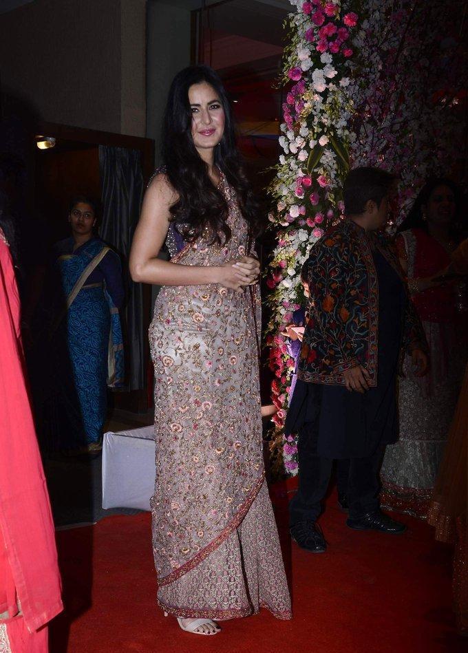 Bollywood Actress Katrina Kaif  2017 Images In Traditional Pink Saree