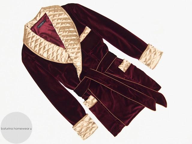 mens burgundy velvet smoking jacket red gold dressing gown quilted silk robe