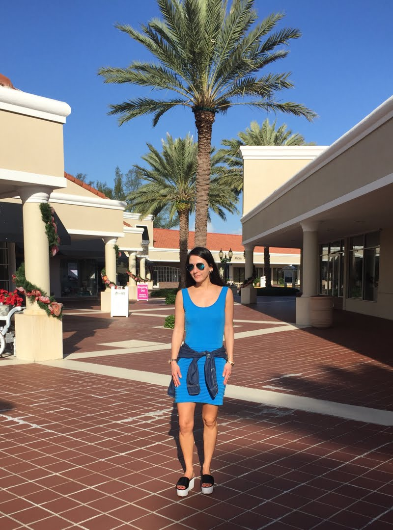 Blue and Jean Outfit at Palm Beach in shopping center.