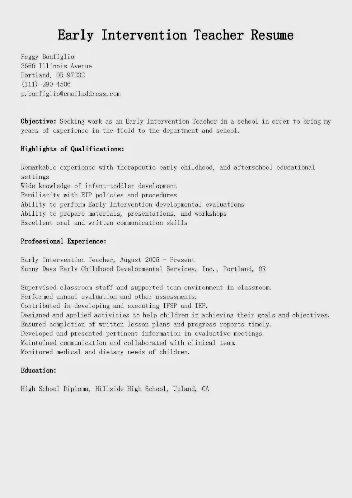 Resume Samples Early Intervention Teacher Resume Sample