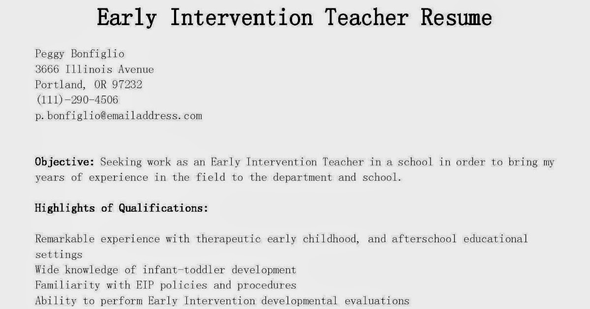 Infant Toddler Developmental Guidelines Resume Samples Early Intervention Teacher Resume Sample