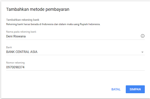 Verifikasi Rekening Bank Untuk Pembayaran Google Adsense Riswan.net
