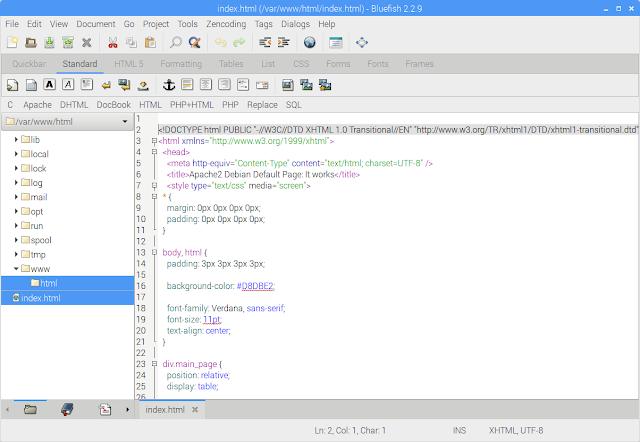 Editando index.html com Bluefish Editor