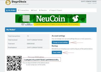 Настройка учетной записи, как отправить количество Dogecoin, резервное копирование