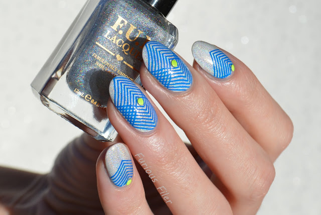 yellow holo blue nails moyou holy shapes studs