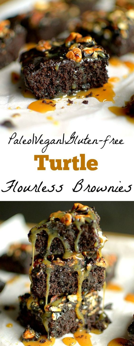 Flourless Pecan Turtle Brownies