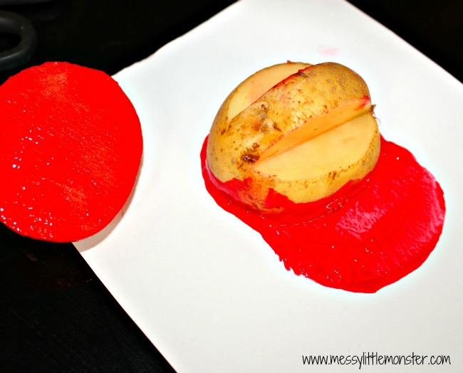 Remembrance day poppy potato print craft for preschoolers eyfs