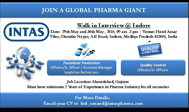 Intas Pharma Walk In Interview For Quality Control, Production  At 29 and 30 May