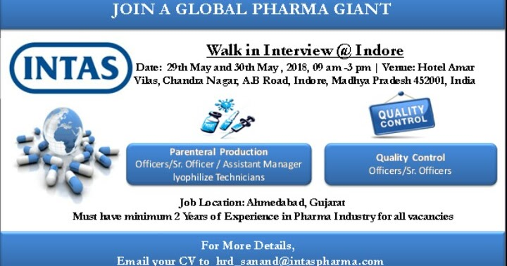 Intas Pharma Walk In Interview For Quality Control, Production At 29 ...