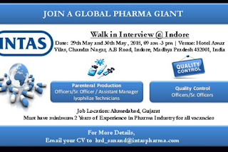 Intas Pharma Walk In Interview For Quality Control, Production  At 29 and 30 May @ Indore