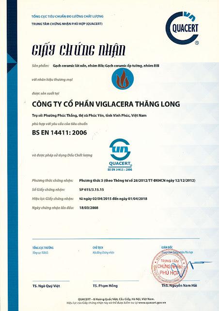 Viglacera Thăng Long đạt Chứng nhận BS EN 14411:2006