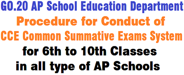 CCE,Common Summative Exams System,AP Schools-GO.20