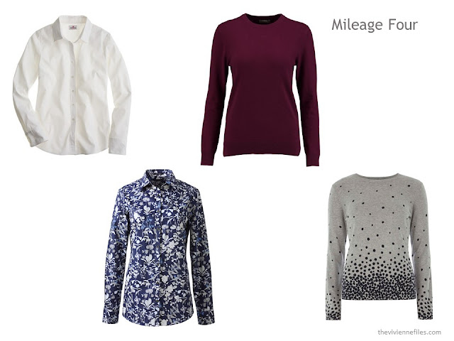 The Mileage Four of four tops - blouses, sweaters or shirts. These are in white, accent burgundy, floral and dots.
