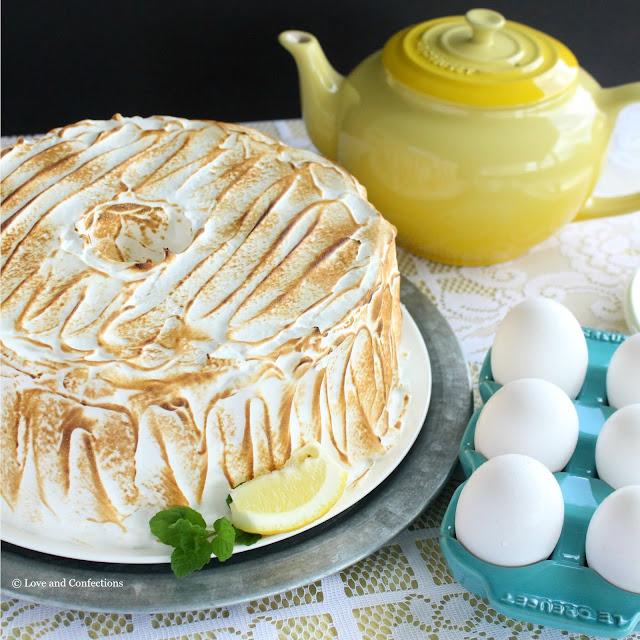Lemon Meringue Angel Food Cake from LoveandConfections.com #BrunchWeek