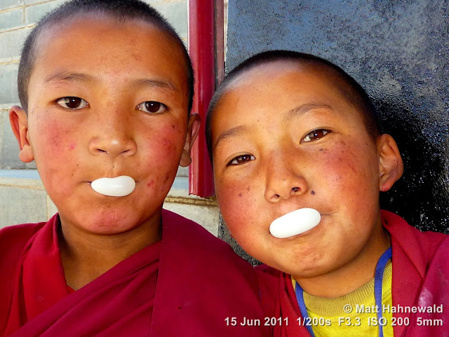 people, street portrait, double portrait, young Tibetan Buddhist monks, boy monks, Tibetan Buddhism, Tiekse Gompa monastery, Leh, Ladakh, Northern India, bubble gum, bubbles