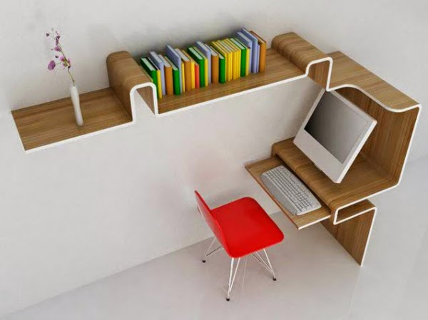 K Workstation incorporates Bamboo laminated plywood for creating efficient  space managing working space. The folding curved shape creates shelving and  desk ...