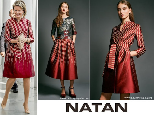 Queen Mathilde wore Natan Dress from Fall Winter 2017/2018 Collection