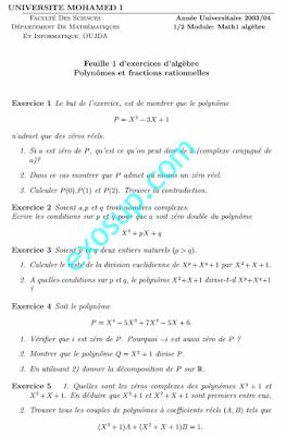 exercices d'algèbre 1 polynômes et fractions rationnelles oujda